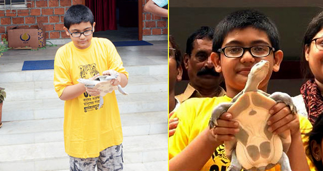 13 YO Boy Asmit Biswas rescues innocent Turtle, his next step will surely inspire you