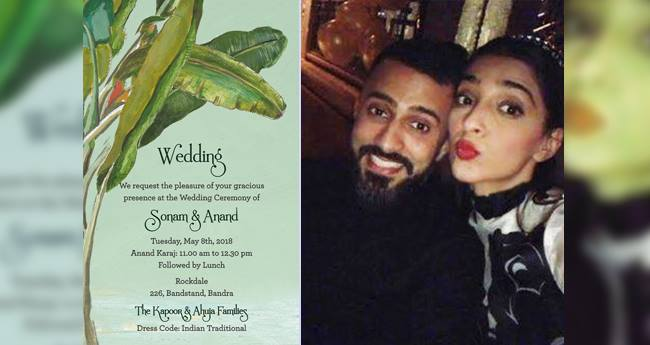 The Wedding Invitees Of Sonam And Anand's Wedding Are Out And They Are Beautiful