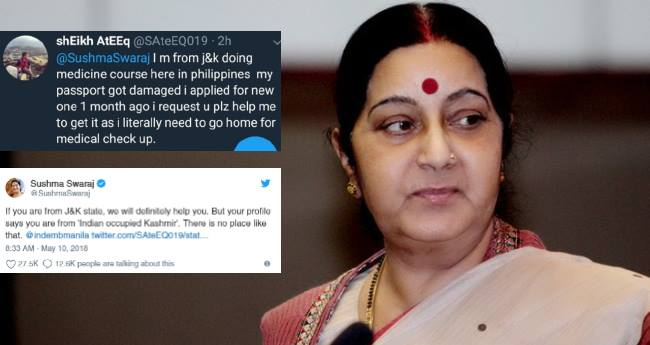 Sushma Swaraj made a boy correct his profile 'Indian occupied Kashmir' from Jammu and Kashmir