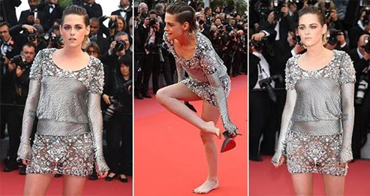 Kristen Stewart from Twilight fame, takes off her heels at the red carpet to protest against the 'No Flats' policy