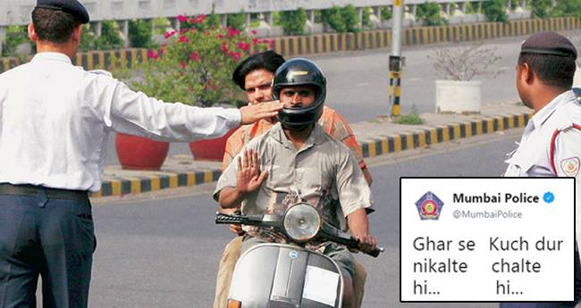 Mumbai Police Takes A Dig At A Youth For Breaking Traffic Rules, Posts A Funny Tweet