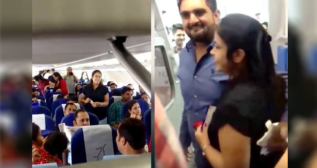 "In Indore To Goa Flight A Man Proposes His Girl, ""Will you marry me?"""