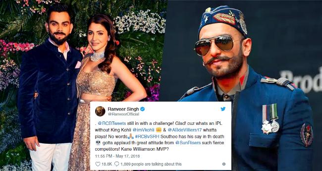 Ranveer Singh seems to be very fond of Virat Kohli, is all praises for him in his tweet