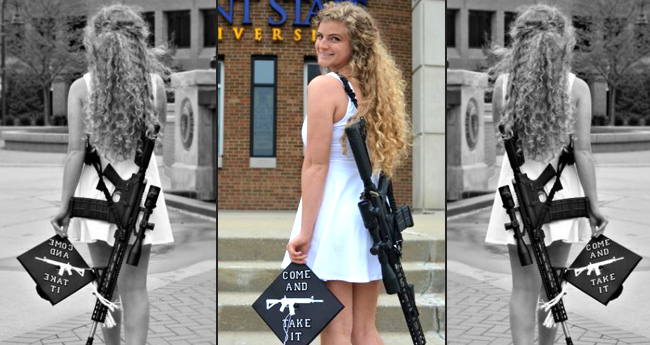 Student from Kent State University posts her graduation pictures holding a riffle, talks about student safety