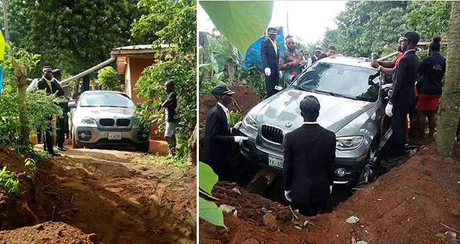 Man buries his loving dad in brand new BMW car