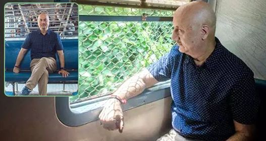 Pics: Anupam Kher relives his struggling days by travelling in local train again