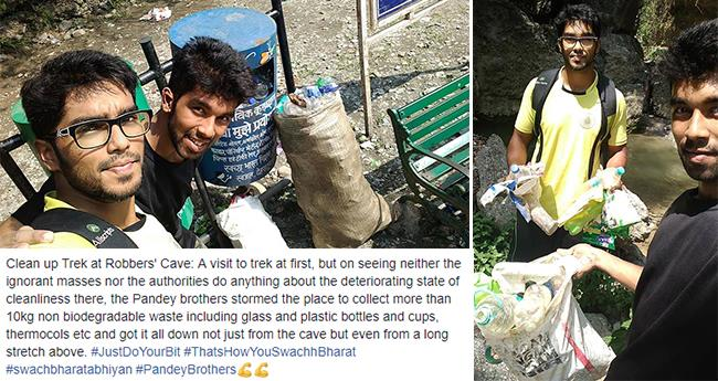 Planned for a trek, 2 brothers ended up cleaning 10kg waste at Robbers' Cave, Dehradun