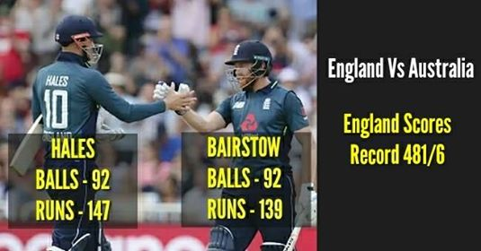 England Cricket Team Made The Highest One-Day International Total Of 481-6 Against Australia