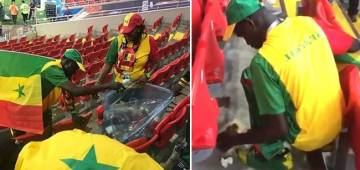 Video: Fans clean stadium after winning the match at FIFA World Cup