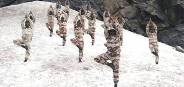 Police personnel perform Surya Namaskar in cold desert of Ladakh at an altitude of 18,000 feet