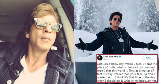On A Rainy Day In Mumbai A Philosophical Shah Rukh Khan Posts An Emotional Post on Twitter