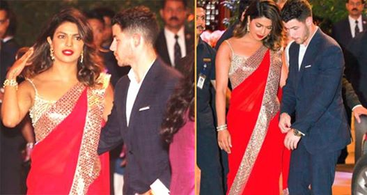 Priyanka Wore Red Saree, Nick Looked Dapper In Blue As They Made An Entry At Ambani Residence