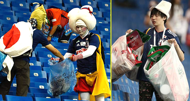 Japan Fans And Players Win Hearts As They Clean The Stadium After Their Exit From FIFA World Cup