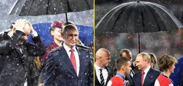 Russian President Vladimir Putin's Umbrella Takes Away The Limelight At FIFA World Cup 2018 Final