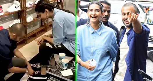 Anand Ahuja Tying Sonam Kapoor's Shoe Laces Is So Cute