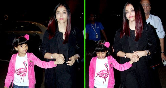 Aishwarya Rai Bachchan grabbed our eyes sporting Sindoor while leaving for Paris with Daughter
