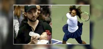 While Serena Williams Played On Court, Husband Alexis Was On Dad Duty, The Pics Have Won Hearts