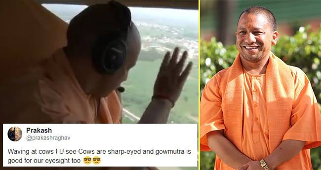 Yogi Adityanath Waved From His Plane And Twitter Got A Reason To Laugh
