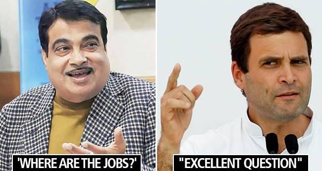 Rahul Gandhi replies 'Excellent Question' as Nitin Gadkari enquires 'Where Are The Jobs'