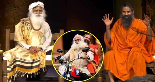 Sadhguru takes Baba Ramdev on his Ducati bike for a ride at Isha Yoga Center in Coimbatore