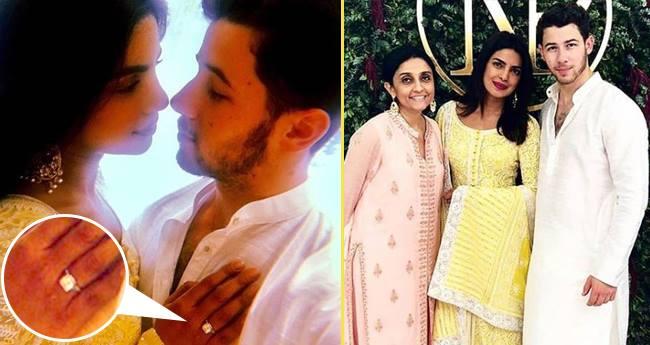 Wearing A Lemon Yellow Anarkali Priyanka Chopra Showed Her Engagement Ring At Roka Ceremony Laughing Colours