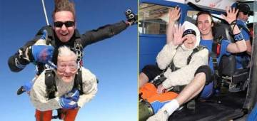 102-YO sets world record of becoming the oldest skydiver, Twitter can't stop praising her