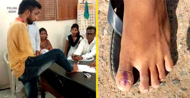 "25 year old man from Telangana with no hands voted using his foot, tells ""It's my priority"""