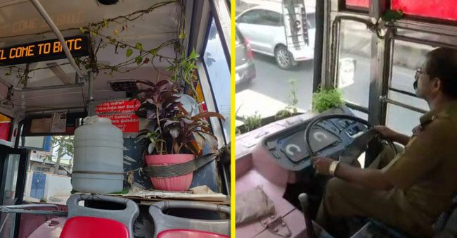 A bus driver from Bangalore travels with a mini garden in the bus itself to spread awareness