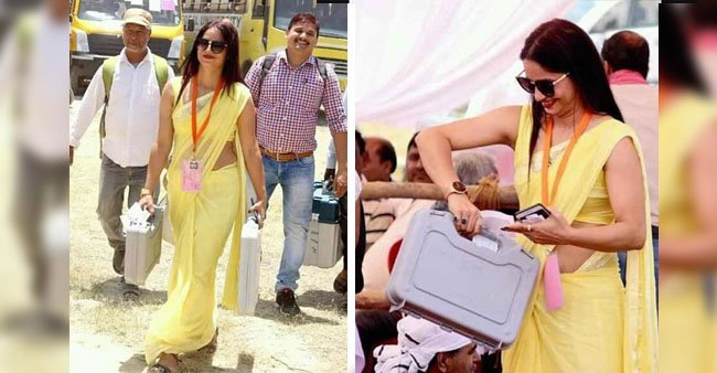 Revealed: Details about the yellow saree lady Election Officer whose images have gone viral on social media