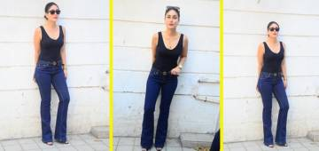 Kareena just jazzed up her look in blue denim and black tank top and it's a bling affair