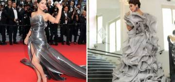 Hina Looks Dazzling in a Metallic High-slit Gown While Huma Qureshi Donned a Grey Ruffled Gown at Cannes