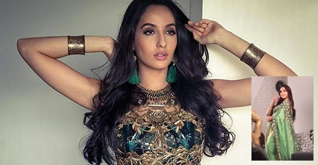 Nora Fatehi is too cute to handle in Green Saree