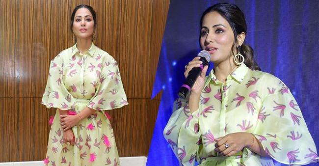 Hina Khan looked equisite in a light green dress