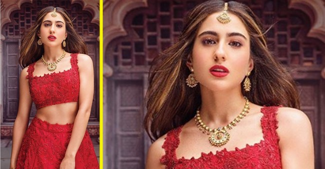 Sara Ali Khan looks stunning in red lehenga; reminds of PeeCee's wedding day look