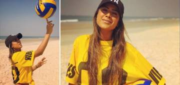 Nia Sharma, the beautiful television actress, knows really well to spin the ball on finger tips