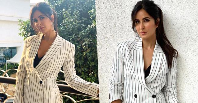 Katrina Kaif Looks Like A Lady Boss In Pinstriped Monochrome Pantsuit