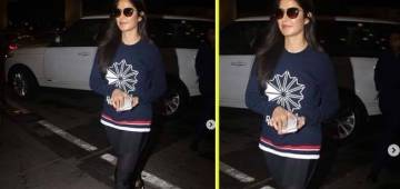 Katrina prefers a cool travel look on her way to London for her birthday trip