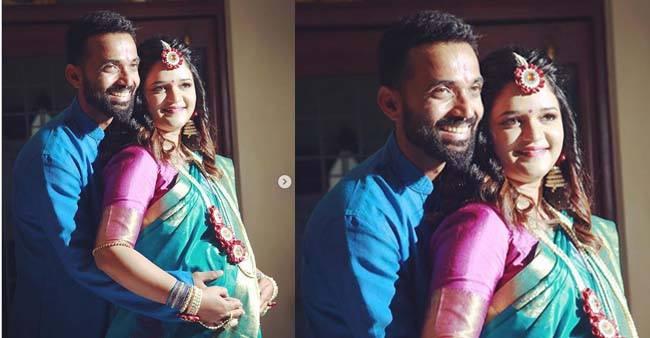 Ajinkya Rahane announces good news by sharing Pics of Pregnant Wife Radhika