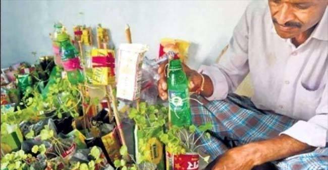 Karnataka Farmer Amasses Plastic Scrap, Uses it For Growing Plants