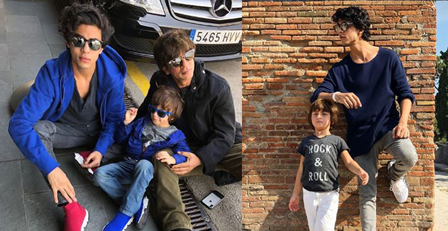 Siblings Love; SRK's son Aryan is seen messing around with AbRam