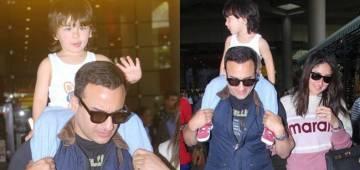 Saif, Kareena along with their son Taimur spotted at Mumbai airport