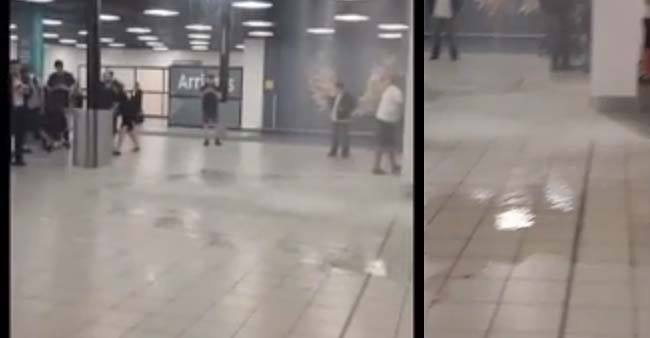 Travellers stunned as water pours into premises of London Luton Airport