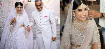 Bride seen wearing white kaleeras to match with her wedding outfit by Manish Malhotra