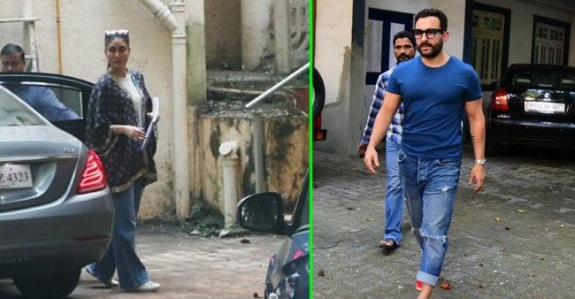Kareena spotted outside Aamir Khan's apartment; Saif matches color with her attire as he steps out