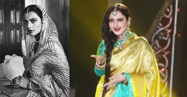 Changes in beautiful style of Rekha over several years in the industry