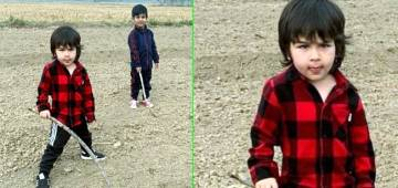 Taimur's Image Holding a Stick While Playing on The Sets of Laal Singh Chaddha is Too Adorable