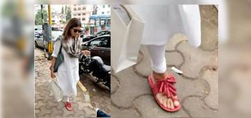 Shweta Bachchan Looks Gorgeous in White Churidar Along With Red Firecracker Chappals