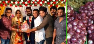 Couple In Tamil Nadu Gets Onion Bouquet As Marriage Gift From Friends; Pics Turn Viral