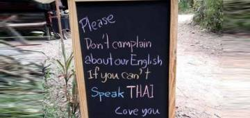 A signboard in Thailand 'justifying their English' goes popular; Twitterati comments