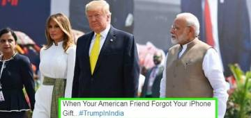 "Donald Trump hugs Modi sliding his hand inside coat, twitter says ""Aise kaun hug karta hai"""